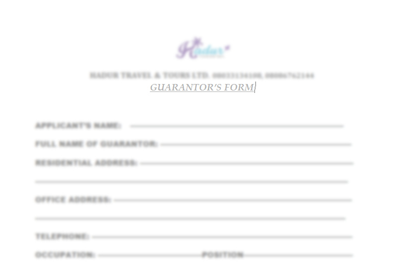 Guarantors form