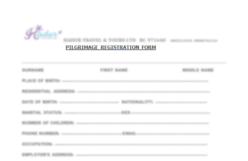 Pilgrimage registration form