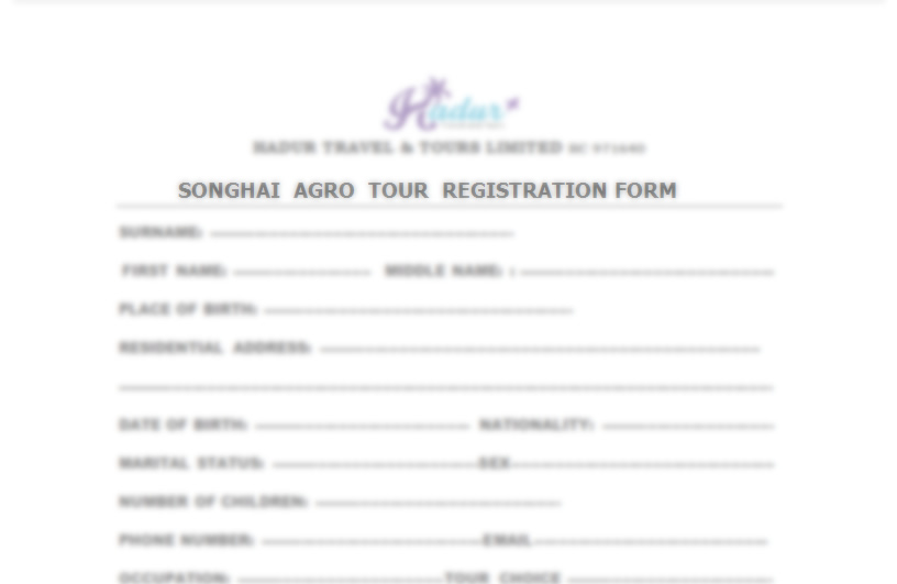 songhai agro tour registration form